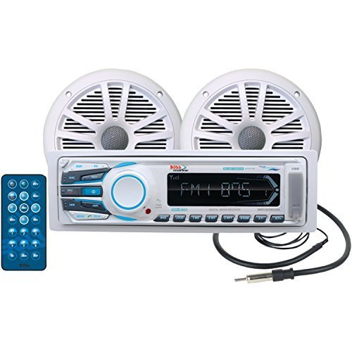 BOSS AUDIO MCK1308WB.6 Marine Package Includes MR1308UAB Single-DIN AM/FM MECHLESS Bluetooth Receiver, One Pair of 6.5 inch MR6W Marine Speakers, MRANT10 Marine Antenna (Marine Stereo System Package compare prices)