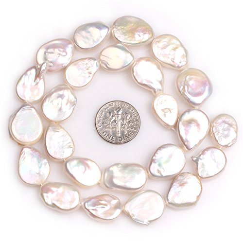 """Freshwater Cultured Pearl Beads for Jewelry Making Natural Gemstone 14x18mm White Flat Drop 15"""" JOE FOREMAN"""