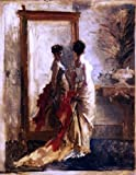 Art Oyster Mose Bianchi Woman in Front of a Mirror - 21.1'' x 28.1'' 100% Hand Painted Oil Painting Reproduction