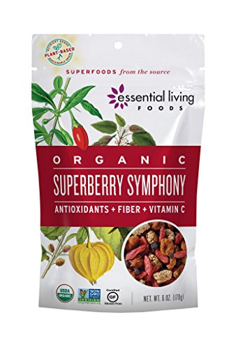 (Essential Living Foods Organic Super Berry Symphony Trail Mix, Mulberries, Goji Berries, Goldenberries, Maqui Berries, Vegan, Superfood, Non-GMO, Gluten Free, Hiking Fuel, 6 Ounce Resealable Bag)
