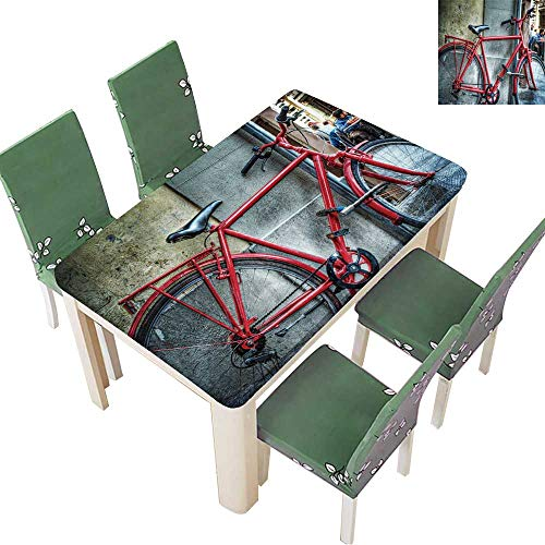 Printsonne Decorative Tablecloth red Bicycle Against a Wall in Florence,Italy for Dining Room and Party 54 x 102 Inch (Elastic Edge) ()