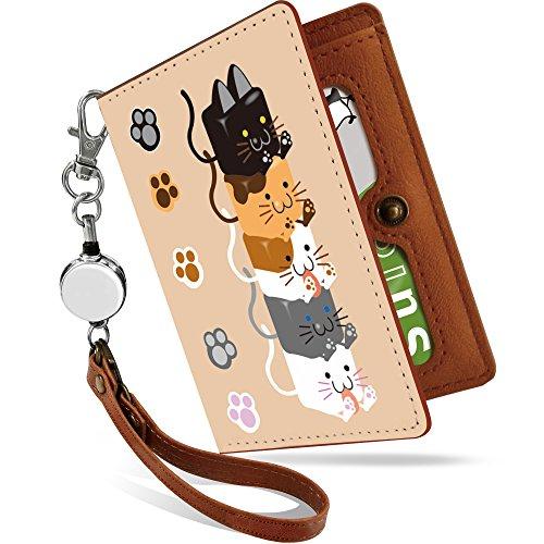 ツイン尽きる亜熱帯パスケース リール付き キュービーズー 仲良し ネコ 猫 キャット 猫柄 かわいい 可愛い キュービーズー 仲良し 定期入れ 二つ折り 2枚 3枚 4枚 カードケース カード入れ レディース