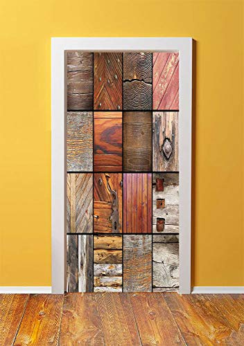 Antique Decor 3D Door Sticker Wall Decals Mural Wallpaper,Collection of Different Wooden Architecture Elements Timber Door Key Materials Boho,DIY Art Home Decor Poster Decoration 30.3x78.8591,Chocolat