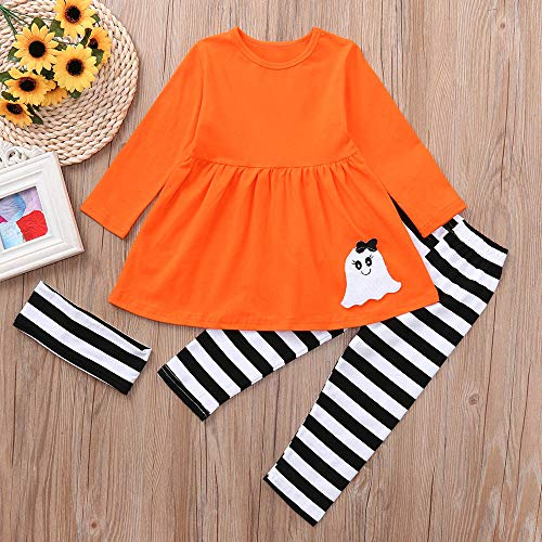 MOKO-PP Toddler Baby Girls Ghost Dresses Striped Pants Halloween Costume Outfits Set(Orange,130)