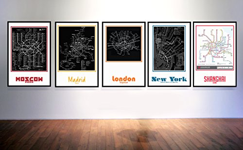 Subway Map Series Set of 5 (New York City, London, Shanghai, Moscow, Madrid) Refined Aluminum Wall Art -Gallery mount frame