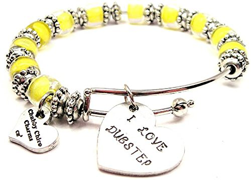 I Love Dubstep Lemon Yellow Glass Beaded Adjustable Bangle Bracelet - Skrillex Glasses