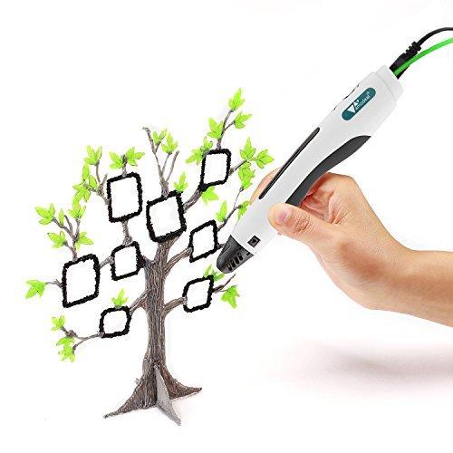 Amzdeal 3D-Drucker Stift 3D-Pen für 3D-Zeichnungen 3D Stereoscopic Printing Pen mit EU Adapter, USB-Kabel und 2 Packungen Filament