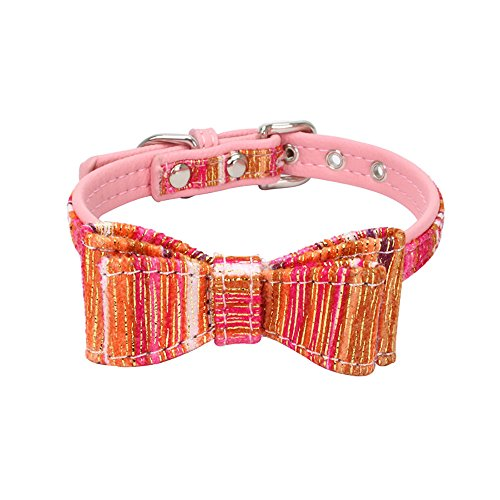 Collar For Small Dogs And Cats Cute Bowtie Dog Collar for Girls and Boys Pet Exquisite Adjustable Bowknot Spun Gold Dog Puppy Pet Collars Cute Puppy Choker Cat Necklace Outdoor Collar (Hot Pink, S)