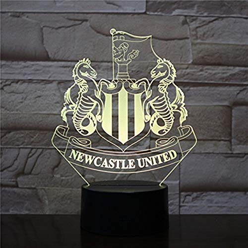 FFYYJJLEI 3D Night Light Soccer Club Home Lighting 7 Color Change Kids Gift Newcastle United Lamp with Remote Controller