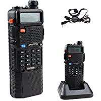 BestFace® BAOFENG Dual Band UV5R Handheld Two Way Radio UHF/VHF 136-174/400-480Mhz 128 Channels FM Ham walkie talkie Transceiver + Upgrade Version 3800mah Battery + Free Earpiece, Built-in VOX Function (Black)