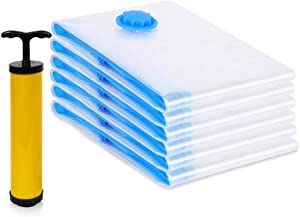 HAUSPROFI Vacuum Storage Bags, Space Saver Bags with Free Travel Hand Pump for Clothes, Duvets, Blankets, Pillows & Travel - Double-Zip Seal and Triple Seal Turbo - Save 80% Space(6 Pcs, 80x120cm)