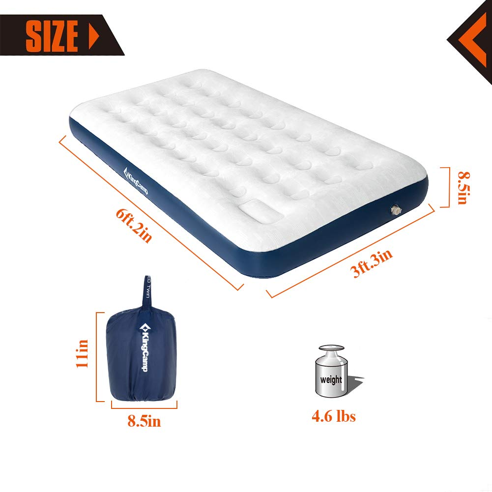 KingCamp Camping Air Mattress with Built-in Foot Pump Single//Double Comfort Inflatable Camp Mat