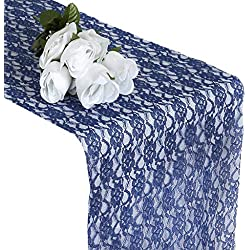 mds Pack of 10 Wedding 12 x 108 inch Lace Table Runner for Wedding Banquet Decor Table Lace Runner- Navy Blue