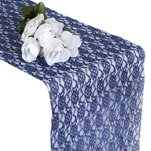 mds Pack of 10 Wedding 12 x 108 inch Lace Table Runner for Wedding Banquet Decor Table Lace Runner- Navy Blue]()