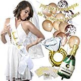 Bachelorette Party Decorations - Rose Gold-Balloons-Bride to Be-Glitter-Banners-Sash-Tattoos-Veil- Engagement Ring, Champagne Foil Balloons