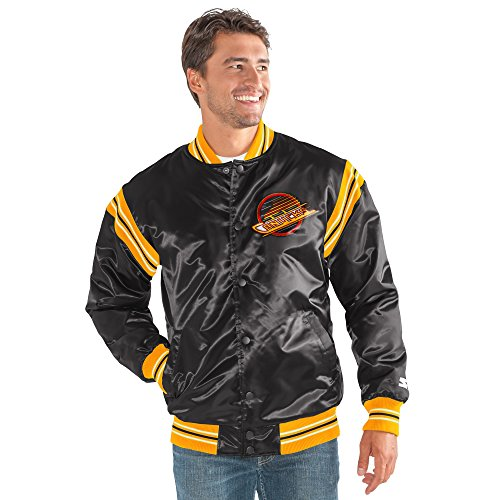 NHL Vancouver Canucks Men's The Enforcer Retro Satin Jacket, Small, Black