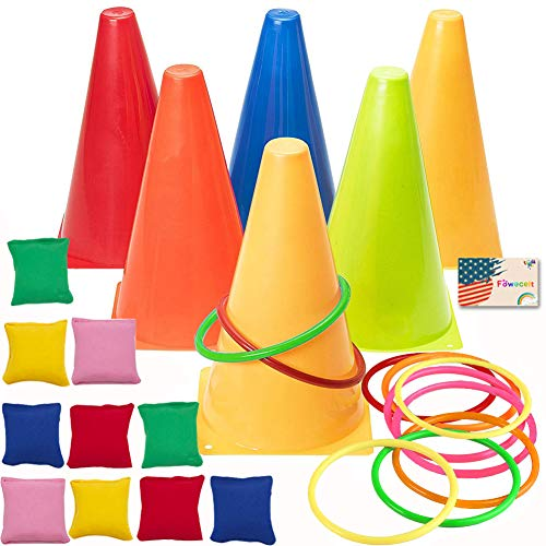 (Fowecelt 3 in 1 Carnival Games Set, Plastic Cone Cornhole Bean Bags Ring Toss Game For Carnival Birthday Party Indoor Outdoor Game Supplies (26 Piece)