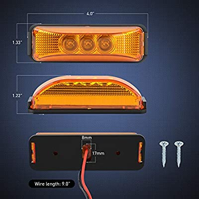 """Nilight 2PCS 3.9"""" 3 LED Truck Trailer Amber Light Front Rear LED Side Marker Lights Clearance Indicator Lamp Perfect Sealed Waterproof Surface Mounted LED Marker Light, 2 Years Warranty: Automotive"""