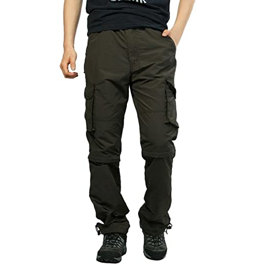 c0cdce9c95c CRYSULLY Men s Relaxed-fit Casual Pants Shorts Tactical Military Sport  Straight fit Cargo Pants Convertible