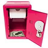 "Kid's Coin Bank Locker Safe with Combination Lock and Key - 7"" High Hot Pink"
