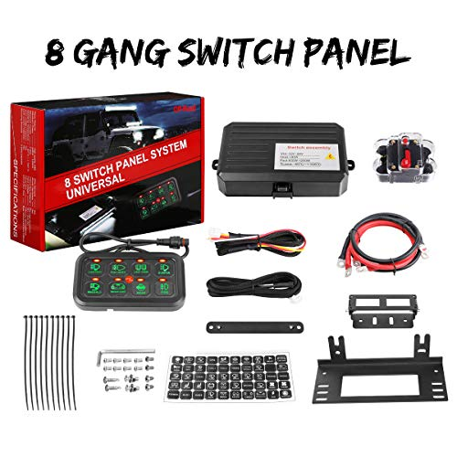 8 Gang Switch Panel, Swatow Industries Electronic Relay System Circuit Control Box Universal Touch Switch Box Power System for Truck Car Jeep ATV UTV Boat Marine Waterproof
