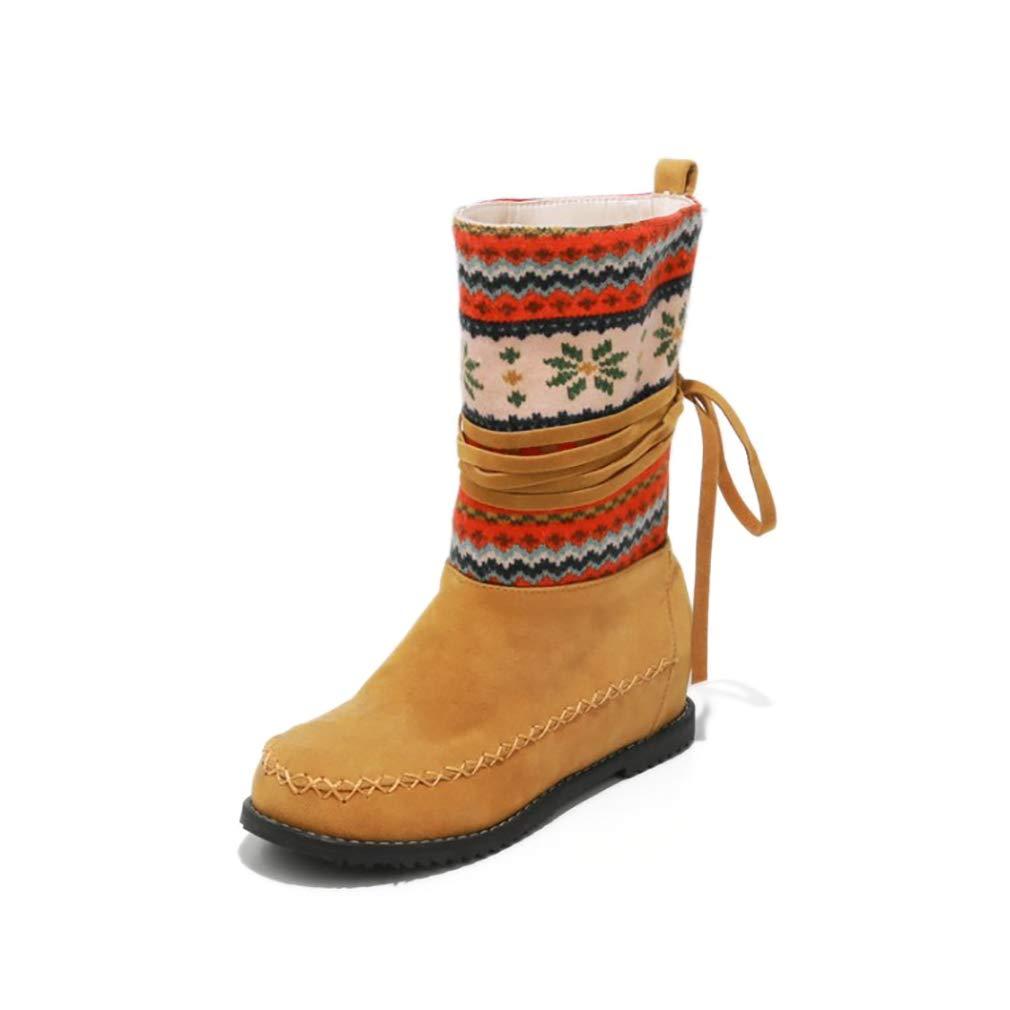 Hy Damen Stiefelies Herbst/Winter Wildleder Lässig Flache Ferse Stiefelies/Damen National Wind Large Größe Stiefel/Stiefeletten (Farbe : C, Größe : 37)