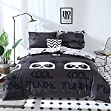 Bedding Sets Chickwin Duvet Cover Set Polyester Microfiber Printing Animal Pattern Single Double King Size Bedding Sets 3Pcs, 1*duvet cover 2* matching pillowcases For Kids and Family (Single 135x200cm, Angry panda)