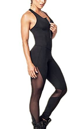 1a3c0e50a5eb Amazon.com  CFR Tight Yoga Bodysuit Sleeveless Backless Zipper Sexy Hollow  Out Fitness Jumpsuit UPS Post  Clothing