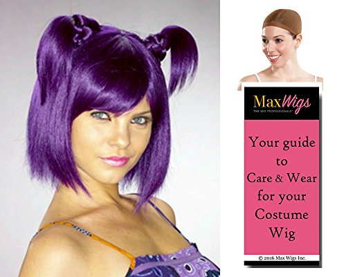 Price comparison product image Bundle 3 items: Melody of Oblivion Anime Warriors Melos Enigma Wigs, Indigo, Wig Cap, MaxWigs Costume Wig Care Guide