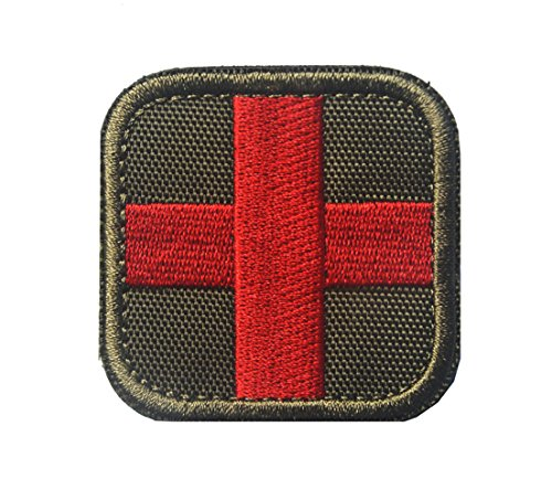 - Zhikang68 Embroidered Medic Cross Tactical Patch First Aid Decorative Badge Appliques (Army Green)