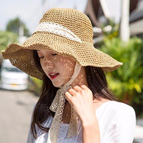 SAIBANGZI Regalos de Navidad la Mujer Gira de Verano Sombrero Playa  Plegable Sombrero para el Sol Sombrero Pescador Hat Sombrero de Paja  Blanco  Amazon.es  ... e755ebb6595