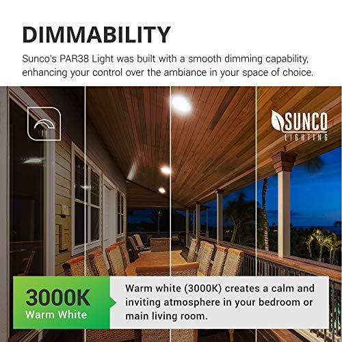 Sunco Lighting 6 Pack PAR38 LED Bulb 13W=100W, 3000K Warm White, 1050 LM, Dimmable, Indoor/Outdoor Spotlight, Waterproof - UL & Energy Star