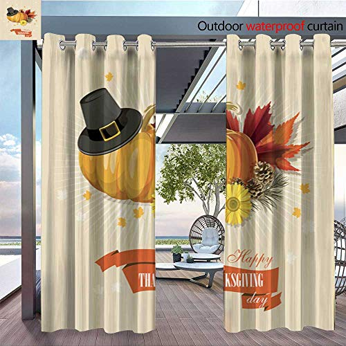 Exterior/Outside Curtains Happy Thanksgiving Day Greeting card9 for Patio Light Block Heat Out Water Proof Drape W84 x L84/Pair ()