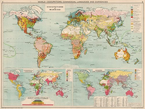 World. Occupations, Commercial Languages & Currency zones - 1925 - old map - antique map - vintage map - World maps