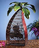 "18"" Extravagant Tropical Paradise Palm Tree Table Top Figure Fan"
