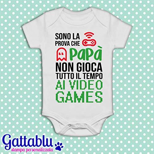 Body bimbo o bimba neonato beb/è pagliaccetto Sono la prova che pap/à non gioca tutto il tempo ai videogames Per un Pap/à gamer! Idea regalo divertente per la Festa del pap/à