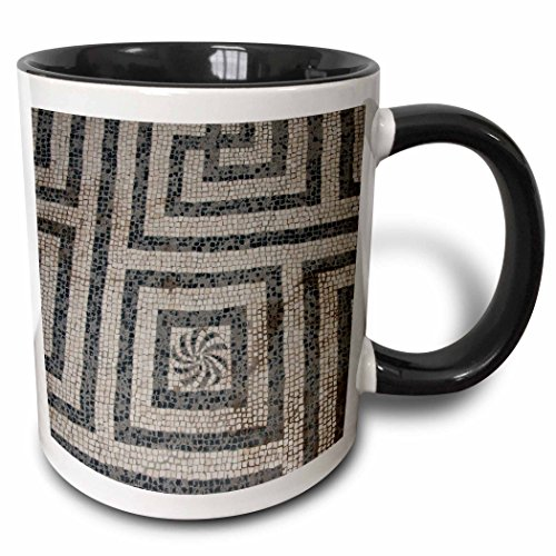 3dRose Danita Delimont - Patterns - Italy, Herculaneum. Womens bath house, detail of mosaic floor. UNESCO. - 15oz Two-Tone Black Mug (mug_208935_9) ()