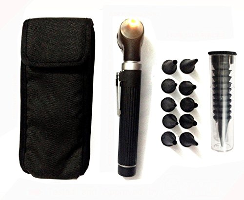 (Fiber Optic Mini Otoscope Set - Medical Diagnostic Examination Set - Pocket Size - (BLACK))
