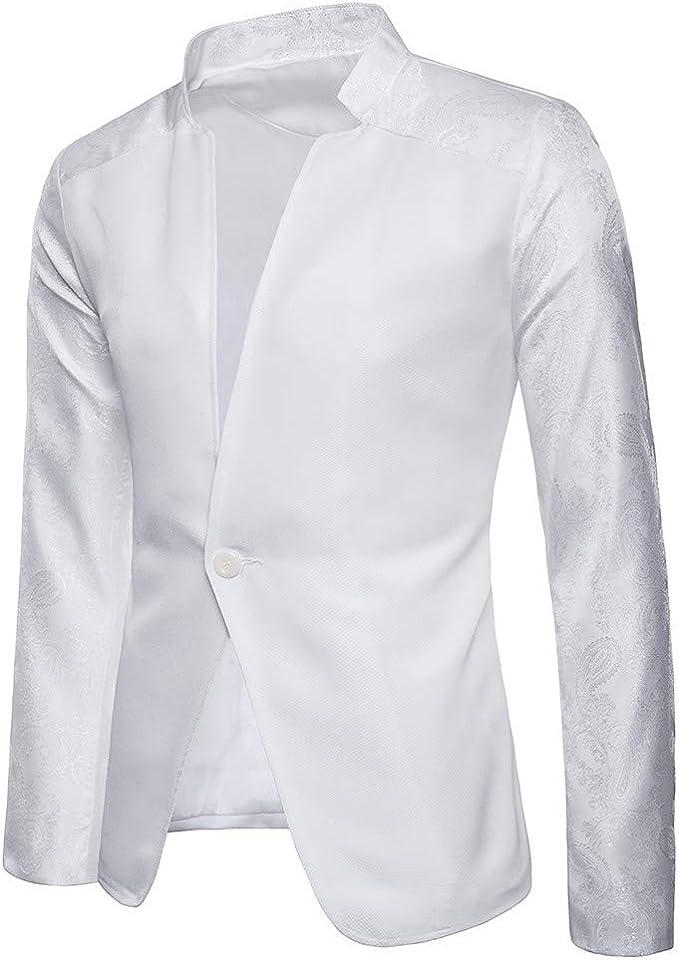 Blazer Homme Un Bouton /à Couleur Unie Slim Fit D/écor/é Foulard /à Bon March/é Veste de Business El/égant