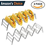 Stainless Steel Taco Holders, EMAZON ONLINE Mexican Food Taco Rack Shells Hold 4-5 Tacos -Set of 2