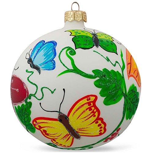 BestPysanky Garden Butterflies Glass Ball Christmas Ornament 4 Inches