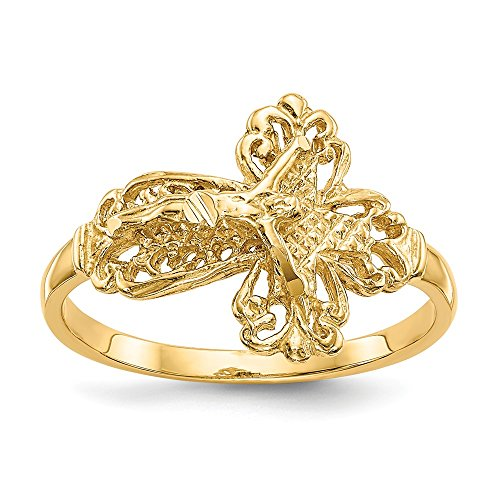 14k Yellow Gold Crucifix Cross Religious Band Ring Size 6.00 Fine Jewelry Gifts For Women For ()