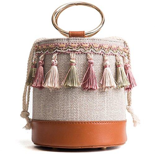 Messenger Ring Women Beach Straw Handle Summer Bucket amp;demons Brown Tassel Angels Bag Small wXSx0g6q
