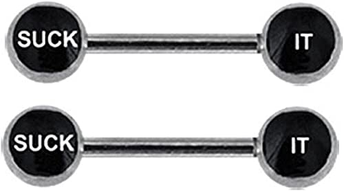 14g 1 Pair 316L Surgical Steel Nickle Free Freaky Words Straight Nipple Bars