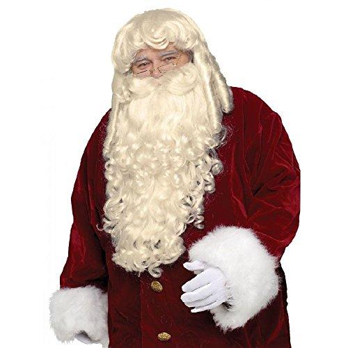 Super Deluxe Santa Claus Wig & Beard Set Adult Mens Christmas Costume Accessory (Super Santa Deluxe Wig)