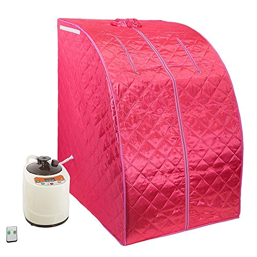 Smartmak Portable Steam Sauna, at Home Full Body One Person Spa Tent, 2L Steamer with Remote Control, eco-Friendly Indoor Weight Loss Detox Therapy, Herbal Box Included(US Plug)- Red