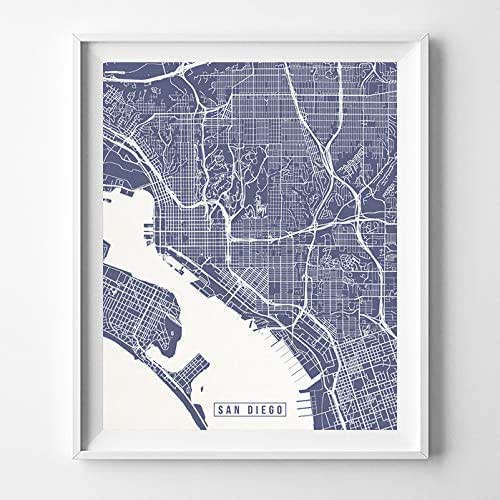 Home Decor San Diego: Amazon.com: San Diego California City Street Map Wall Art