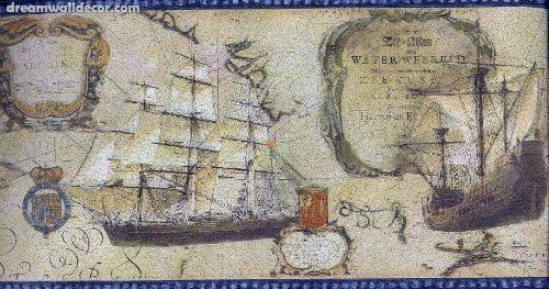 Old world map ships blue trim nautical wallpaper border amazon old world map ships blue trim nautical wallpaper border freerunsca Gallery
