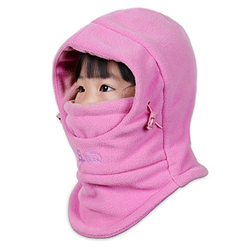 Price comparison product image ONIMA Kids Windproof Double Thick Fleece Hoody Balaclava Outdoor Sledding Skiing Cap (Pink)