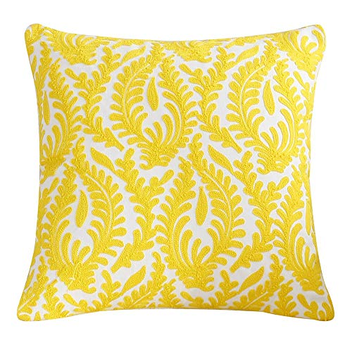 Homyall Yellow Floral Pure Cotton Embroidered Cushion Cover 18x18 Inch Decorative Throw Pillow Cover Purified Cotton Embroidery Flower Cushion Cover for Couch Sofa Bed, 1 Piece (Yellow-Flower)